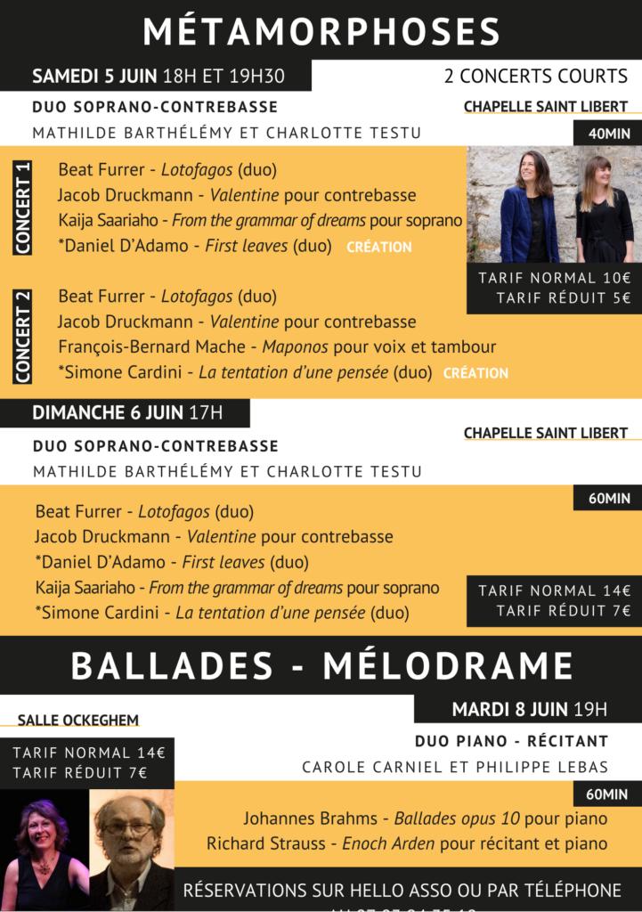 Programme détaillé concerts Métamorphoses, 5.6.8juin 2021